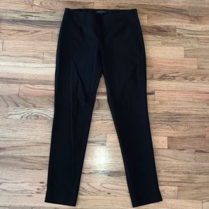 Theory black tapered side zip pants 4